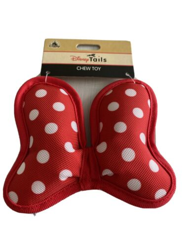 Disney Parks Disney Tails Minnie Mouse Red Bow Pet Chew Squeeze Dog Toy NWT $18