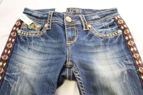 Grace in LA Women/'s Skinny Blue Denim Jeans Hippie Diamond Design Side Stripe