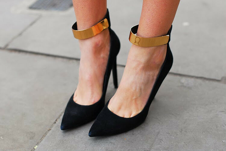 NEW ZARA BLACK LEATHER HIGH HEEL COURT SHOES METAL ANKLE STRAP ALL SIZES
