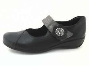 Remonte-Womens-Mary-Jane-Comfort-Walking-Shoes-Leather-Black-Gray-US-8-5-9-EU-40