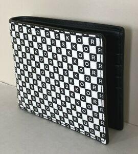 New-Michael-Kors-Cooper-Men-039-s-slim-billfold-wallet-Taxi-Black-White-multi
