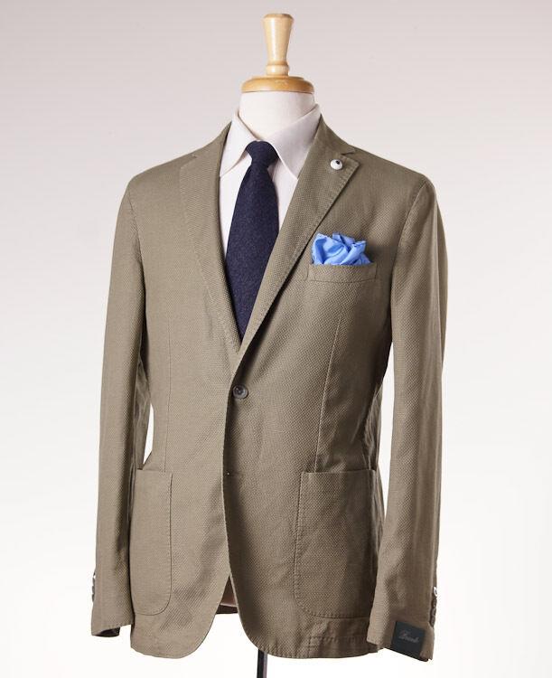 NWT 750 BRANDO (L.B.M. 1911) Grün Woven Cotton-Linen Sport Coat Slim 42 R Eu52