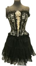 steampunk Victorian Gothic Cream/black Outfit With Cameo  Tea Party Outfit