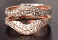Solitaire Enhancer Vintage Milgrain 0.60 Diamonds Ring Guard Wrap Rose Gold