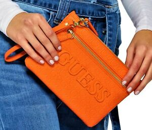 NWT-GUESS-CORA-WRISTLET-BAG-Orange-Logo-Clutch-Pouch-Handbag-Wallet-GENUINE