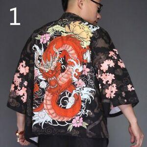 Yukata Giacca kimono GIAPPONESE vintage UOMO maglia nero larga HFvUqnxwAW