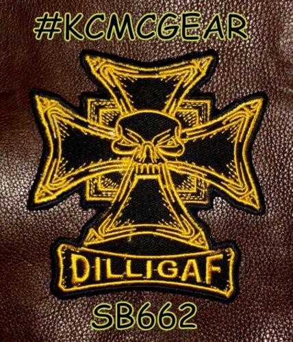 DILLIGAF MALTESE CROSS Small Badge for Biker Vest Motorcycle Patch