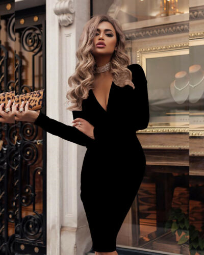 Cocktail Long Sleeve Mini Bodycon VNeck Dress Casual V Party Club Evening Womens