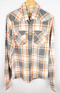 Hollister-Men-Casual-Shirt-Snap-White-Grey-Check-Cotton-size-XL