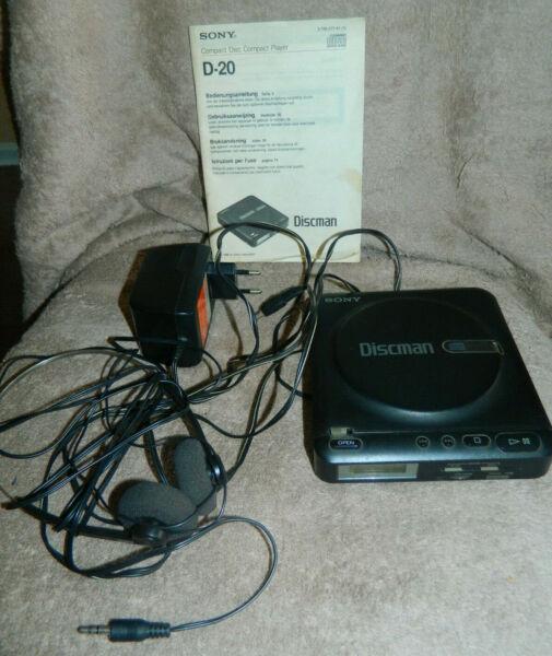 Humor Sony Discman D-20 Komplett Bedienungsanleitung,kopfhörer, Netzadapter