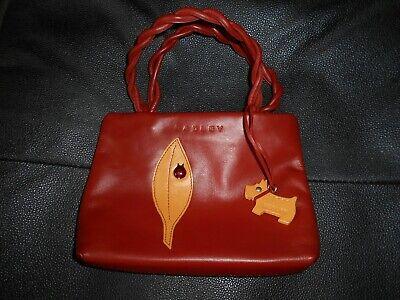 Authentic Vintage Radley Piccolo Arancione Bruciato Foglia Afferra Borsa In Metallo Coccinella Dog Tag-