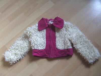 Kinder Plüschjacke Ca. Gr. 104 Pink/weiß - Vintage Stabile Konstruktion