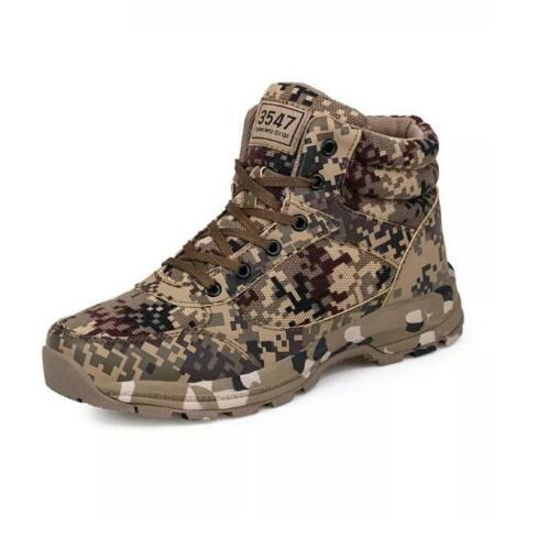 Men Soldier Combat Camouflage Army Police Tactical Boots Winter Hiking Walking
