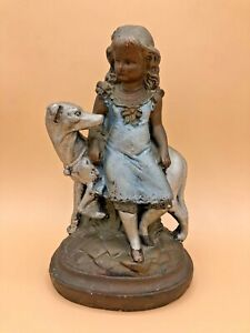 Vintage Girl with Dog Plaster Chalk-ware Statue Figurine