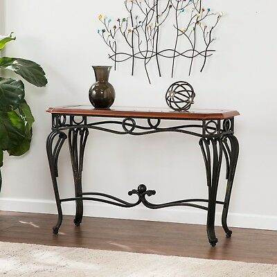 Dark Cherry Sofa Table Gl Top Metal Console Entry Hall Way Living Room Accent 648865047060 Ebay