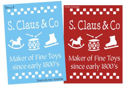 Christmas Stencil Santa Claus Fine Toys Rocking Horse Skate Drum Primitive Signs
