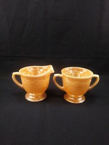 Peach Luster Lustre Laurel Sugar and Creamer Fire King .nice no crack or chips