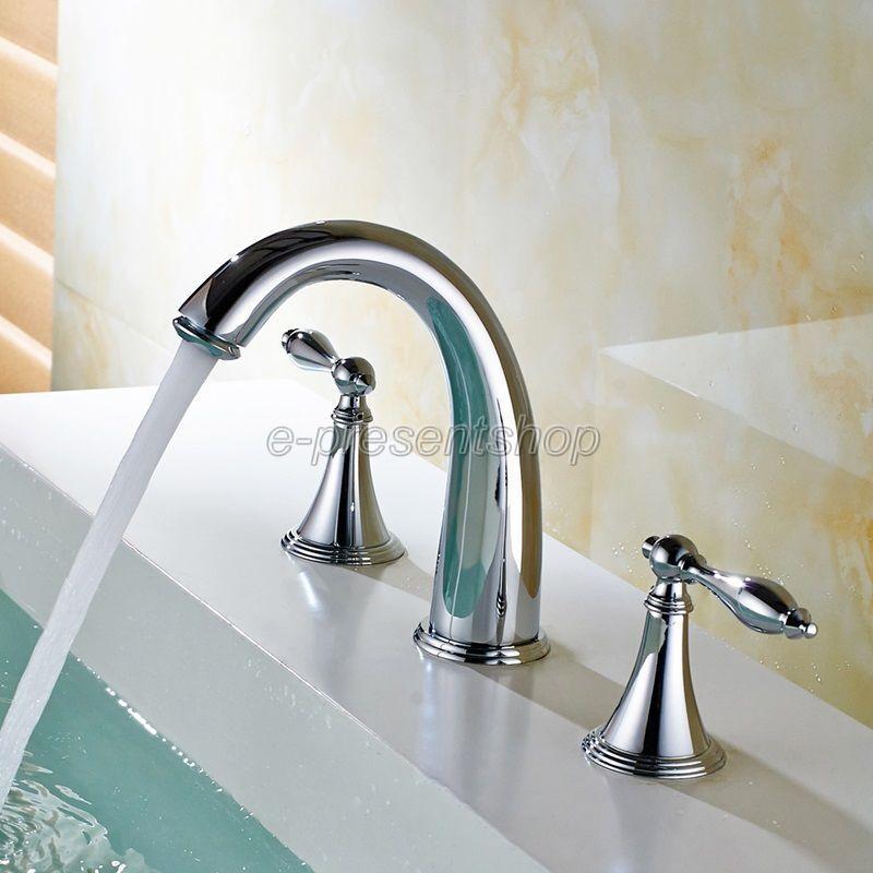Chrome Poli Widespread Roman salle de bains Robinet 3 trous Mélangeur lavabo robinet Bnf433
