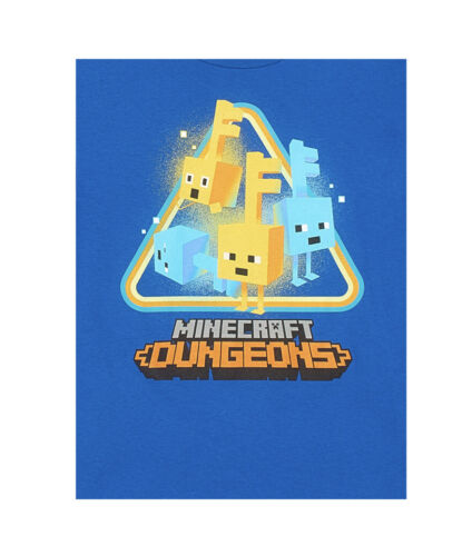 Mojang Minecraft Dungeons Blue Graphic Youth Video Gamer Short Sleeve T-Shirt