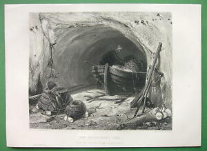 FISHERMAN-Cave-Boat-Nets-Anchor-SUPERB-Antique-Print-Engraving