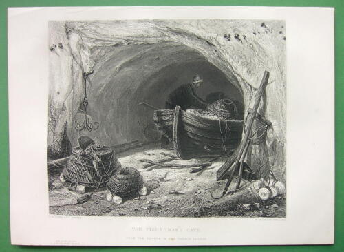 SUPERB Antique Print Engraving FISHERMAN Cave Boat Nets Anchor  !