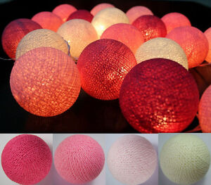 20 LED BATTERY POWERED COTTON BALL FAIRY STRING LIGHTS PARTY WEDDING HOME DECOR