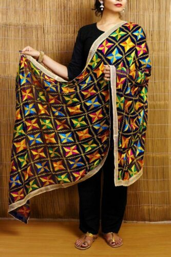 New Indian Look With Multicolored Phulkari Dupatta Long Stole