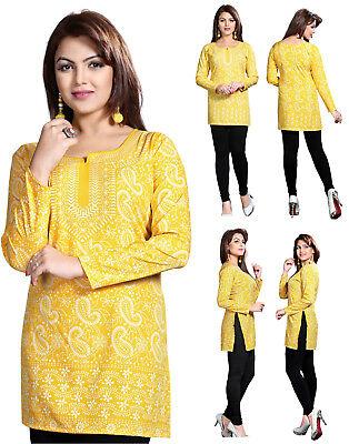 UK STOCK Women Casual Indian Short Kurti Tunic Kurta Top Shirt Dress78D