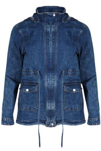 Womens Ladies Vintage Hooded Zip Up Pockets Long Sleeve Outerwear Denim Jacket