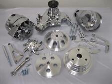 SB Chevy Alum Pulley & Bracket Kit w Alternator Power Steering Long Water Pump