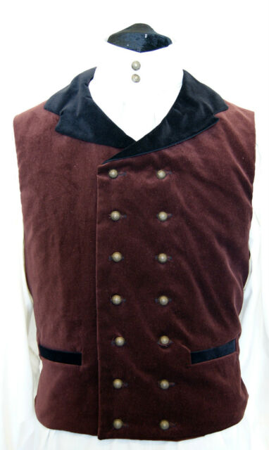 Velvet double breasted Waistcoat Goth Steampunk Victorian Chap Georgian OBSIDIAN