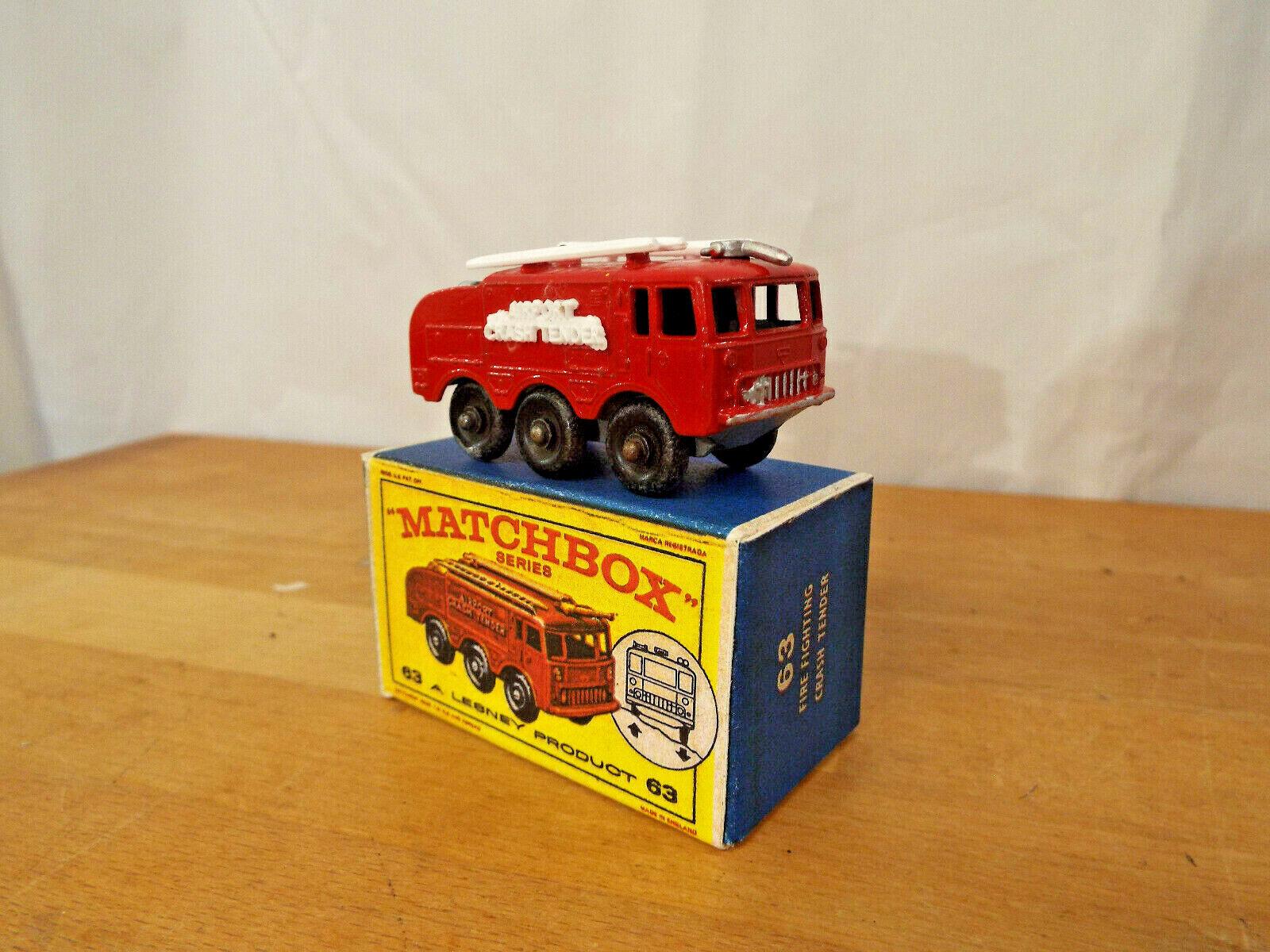 Matchbox  NO 63b Fire Crash Tender Silber Nozzle BOXED