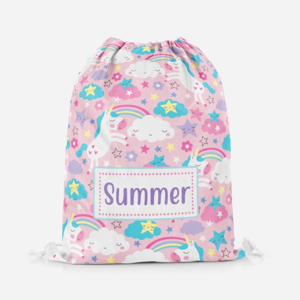 NEW Unicorn Personalised Swimming toy stuff drawstring bag Pink childrens drawstring bag FREE POSTSAGE