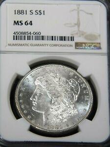 Certified Morgan Silver Dollar 1881-S MS64 NGC
