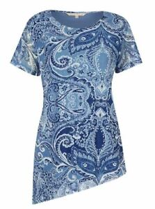 NONI-B-Top-Size-16-18-Blouse-RRP-89-95-Short-Sleeve-Blue-Paisley-Tunic
