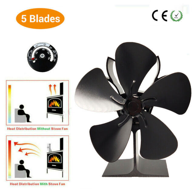 5 Blowers Stove Fan Heat Powered with Thermometer for Wood Burner Fireplace Oven