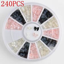 240X Lots DIY Black White 3D Bow Tie Wheel Acrylic Nail Art Glitter Decoration F