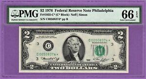 1976 $2 SAN FRANCISCO STAR ⭐️ FRN PMG GEM UNCIRCULATED 66 EPQ BANKNOTE.