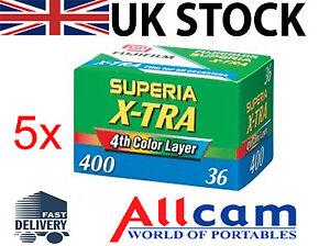 5-Pack-Fuji-Superia-X-tra-400-35mm-36-Exposiciones-Color-Pelicula-de-Negativo