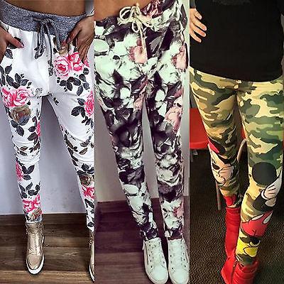 Damen Blume/ Camouflage Leggings Haremhose Freizeithose Jogginghose Sport Sommer