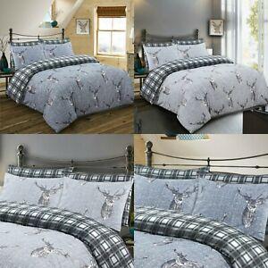 Animal-Print-3-piezas-Juego-de-cama-de-edredon-Ciervo-100-algodon-200TC-doble-King-Size