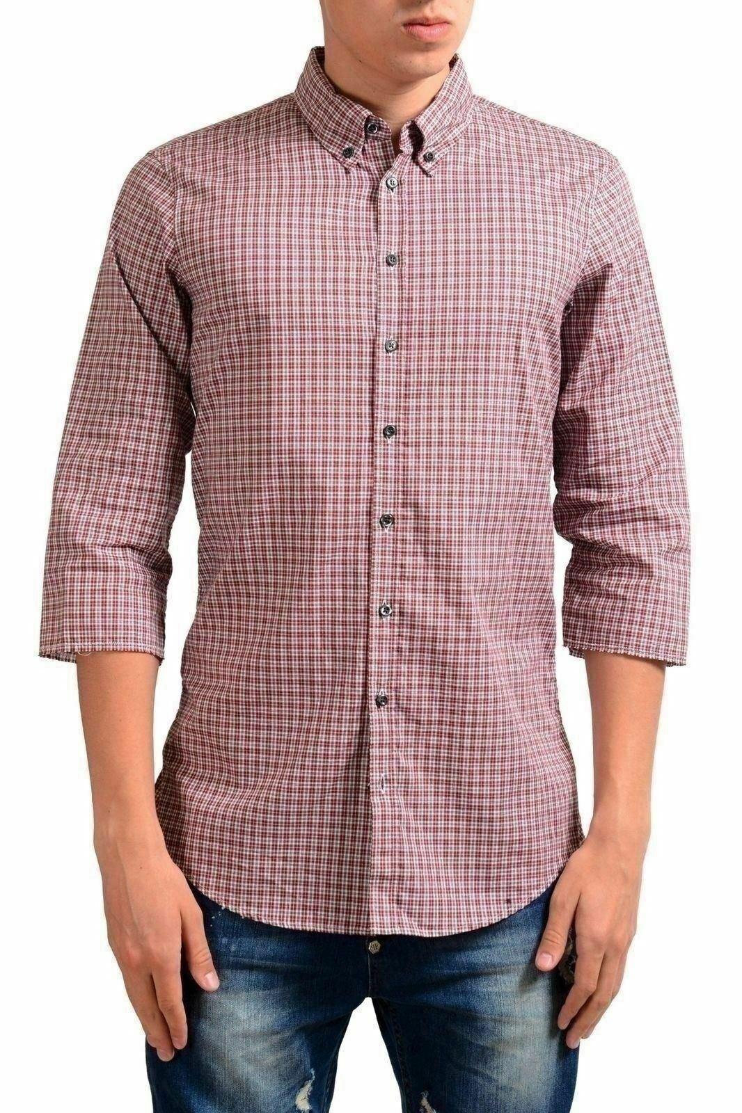 Dsquared2 Men's Plaid 3 4 Sleeve Casual Shirt US S IT 48