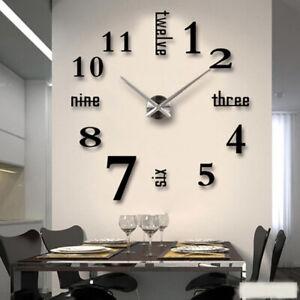 Details zu Wanduhr Deko Spiegel Wandtattoo 8D DIY Design Wand Uhr  Wohnzimmer Selbstklebend