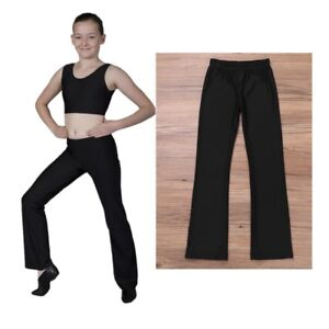 6e4decc388ed20 Girls Kids Black Jazz Dance Pants Dancewear Stretchy Breathable Yoga ...