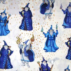 QT Quilting Treasures YARD Fantasy Fabric Spellbound Wizard /& Stars Cream