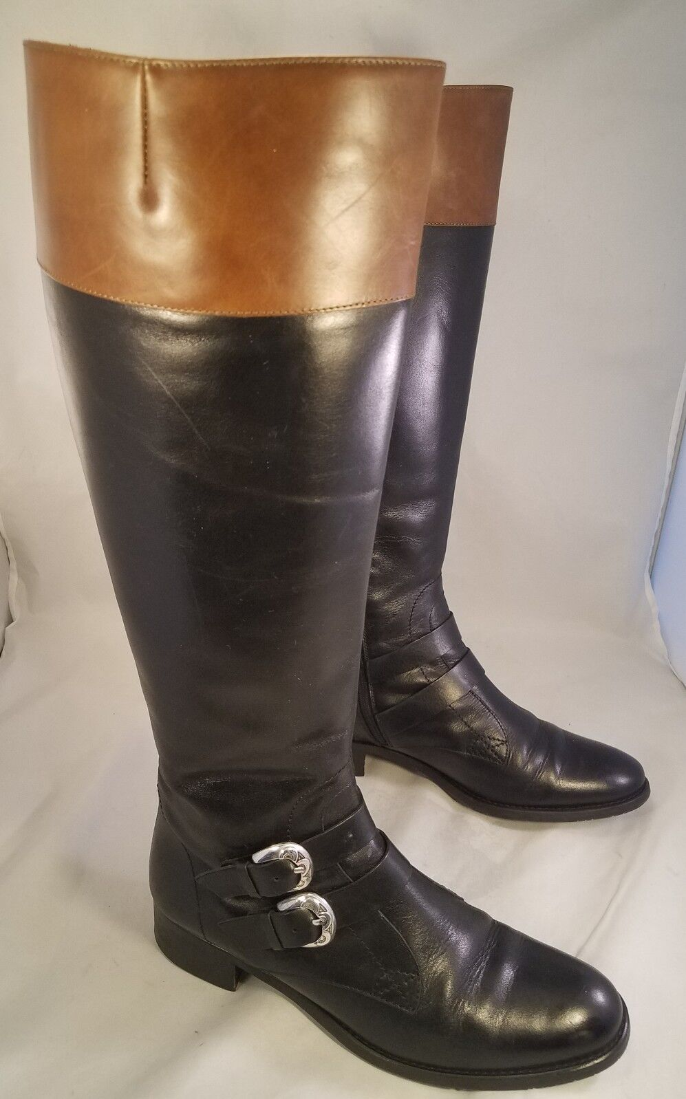 HUNTER ITALY BLACK Damenschuhe Stiefel ALL LEATHER EQUESTRIAN RIDING BUCKLES BLACK ITALY BROWN 7.5 M 3179f1