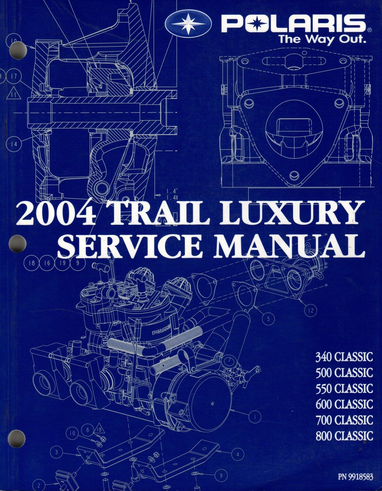 2004 POLARIS SNOWMOBILE TRAIL LUXURY SERVICE MANUAL P N 9918583 (663)