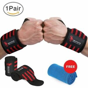 Wrist-Straps-18-034-for-Weightlifting-Fitness-CrossFit-Bodybuilding-Black-Red