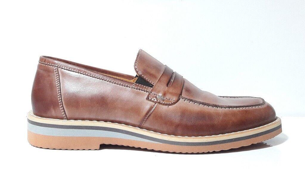 shoes men NICOLA BENSON 1008B MOCASSINI PELLE CUOIO FONDO GOMMA MADE IN ITALY