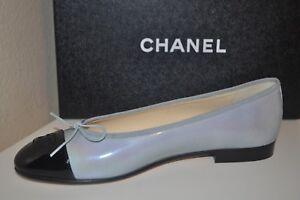 ebecc0a5b1 NIB $750+ CHANEL 17C CC Logo Ballet Flats Shoe Patent Grey & Black ...